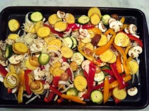 veggies on pan - quesadillas