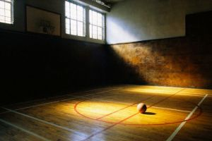Basketball on Vacant Basketball Court